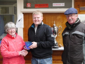 Rob Walsh 2nd Place collecting his trophy from Joyce Roberts and Bill Culshaw- Click for larger view