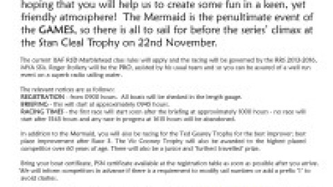 Mermaid Trophy for Marblehead at Guildford – 1st Nov