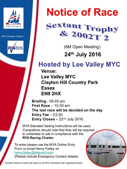 6M Open Meeting – Sextant Trophy & 2002T 2 @ Lee Valley MYC- 24th July 2016