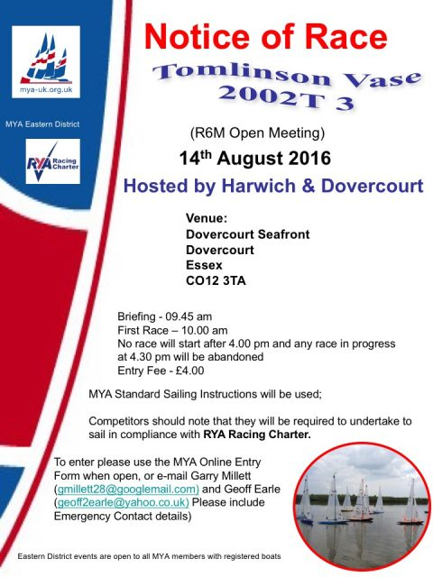 ED Tomlinson Vase 2002 T3  & Eastern District Championship for 6M – August 14th – Harwich & Dovercourt